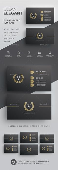 Elegant Business Card Template - #Corporate #Business Cards