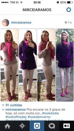 Look de trabalho - look de inverno - pink e roxo