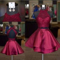 Halter Lace Crop Top Satin Homecoming Dresses Short Prom Dress Two Piece