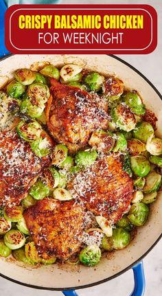 Crispy Balsamic Chicken for Weeknight food menu – Dinner Food Turkey Recipes, Meat Recipes, Chicken Recipes, Dinner Recipes, Cooking Recipes, Healthy Recipes, Healthy Foods, Recipies, Balsamic Chicken