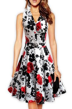 Chic Floral Print Belted A-line Dress Product Code  OP61784  23.99(save  6 f2dce7332182