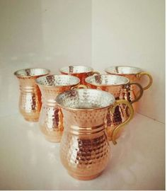 Hammered Copper Mugs, Copper Cups, Copper Kitchen Accessories, Brass Handles, Pure Copper, Mugs Set, Decoration, Decorative Items, Pure Products