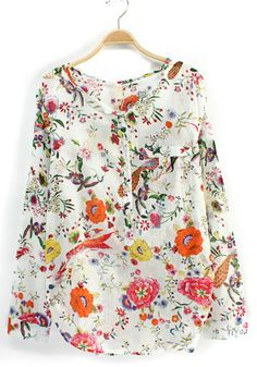 White Floral V-neck Nine's Sleeve Cotton Blend Blouse