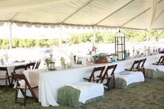 outside southern wedding : love the hay!