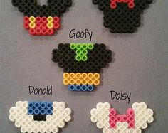Mickey Mouse Inspired Perler Bead Keychains, Magnets, Lanyard Clips, & Ornaments