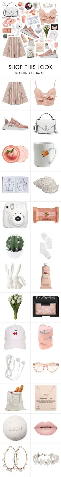 """""""coffee date"""" by soft-bites ❤ liked on Polyvore featuring Zimmermann, Faithfull, NIKE, Rebecca Minkoff, The Body Shop, le mouton noir & co., Assouline Publishing, Disney, Fujifilm and Monki"""