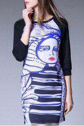 Stylish 3/4 Sleeve Hand Painted Cartoon Pattern Dress For Women
