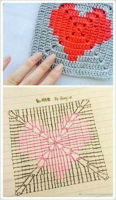Transcendent Crochet a Solid Granny Square Ideas. Inconceivable Crochet a Solid Granny Square Ideas. Motifs Granny Square, Granny Square Crochet Pattern, Crochet Motifs, Crochet Diagram, Crochet Chart, Crochet Squares, Crochet Granny, Heart Granny Square, Granny Squares