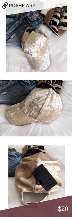 """🆕Crushed velvet baseball dad cap NWT Brand new with tag! Adorable crushed velvet baseball dad cap, by David & Young from Nordstrom. In beige. This cutie is not just an cute basic hat, the crushed velvet texture adds that extra little pizzazz. Adjustable velcro back. Perfect for everyday wear or just to jazz up your casual outfit! Most size fits all. 19"""" - 21"""" Circumference 3"""" brim NWT Nordstrom Accessories Hats"""
