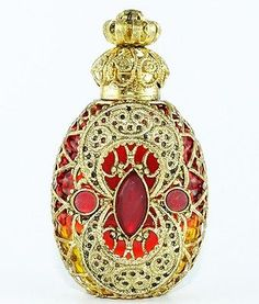 Vintage Gold Tone Filigree Red Yellow Glass Dark Red Stones Perfume Bottle