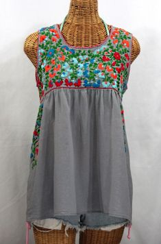 "Seriously one of our most beautiful Sirena sleeveless Mexican blouses ever!  ""La Sirena"" Sleeveless Mexican Peasant Blouse -Grey + Fiesta Embroidery."