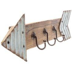 Galvanized Metal & Wood Arrow Triple Hook Decor