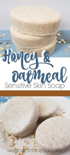 , Honey & Oatmeal Soap (great for sensitive skin!) , If you are looking for a gentle soap that is great for sensitive skin you will love this honey and oatmeal soap! This homemade soap is super simple an. Oatmeal Bath, Oatmeal Soap, Coconut Soap, Honey Soap, Soap For Sensitive Skin, Homemade Oatmeal, Homemade Soap Recipes, Homemade Soap Bars, Homemade Facials