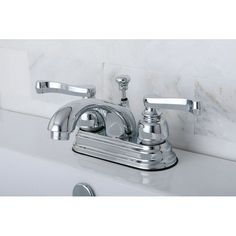 Kingston Brass French Handles Chrome (Grey) Bathroom Faucet (French Lever Handles)