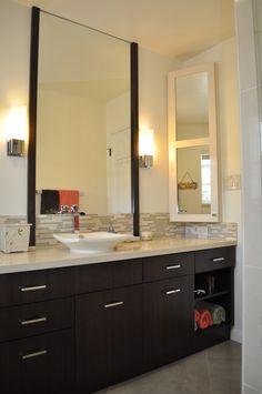 Master Bath Lowered Sink Glass Tile Backsplash Large Framed