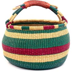 Approximately 13.5  Across x 8  Tall (plus handle)  Coming from the Bolgatanga region of Ghana, these baskets are traditionally used for carrying goods to and from the market. Weavers in the region use the abundant veta vera grass to weave these incredibly hardy, useful baskets. The leather wrapped handle adds to the durability. Please note that if a color looks black on your screen, it is actually a very, very dark blue.  Although we attempt to ship all baskets fully shaped, some baskets…