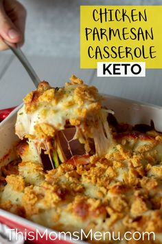 Keto Chicken Parmesan Casserole! All the flavors we love from traditional Chicken parm, and combines them into a super easy casserole that the entire family will love! #thismomsmenu #glutenfree #chickenparmesan #keto