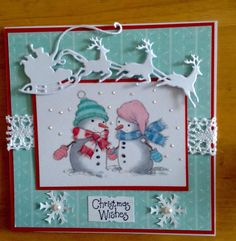 Cute LOTV Lili of the Valley Snowman Handmade Christmas Card