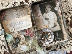 Stacy Hutchinson: More Precious Than Jewels Tin Can Crafts, Fun Crafts, Paper Crafts, Altered Tins, Altered Art, Mint Tins, Nest Design, Tin Art, Assemblage Art