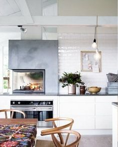 camino in cucina Josef Frank, Fireplaces, Interior, Kitchen, Table, House, Furniture, Design, Home Decor