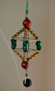 1930s Czechoslovakia Antique Unique Beaded Christmas Ornament Red Green Yellow