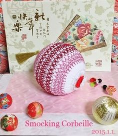 Smocked Temari-like ornament for Japanese New Year's Decor~スモッキング刺繍教室 スモッキング・コルベイユ 新宿・恵比寿