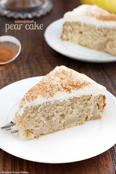 Moist and tender pear cake made with chunks of fresh pear nestled in a cinnamon flavored tender cake.