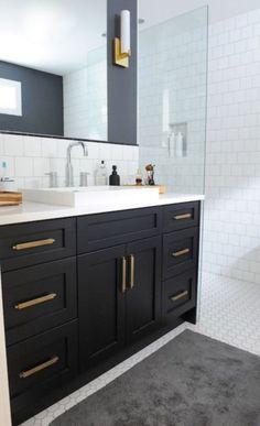 Black Bathroom Vanity with Gold Hardware, Vintage, Bathroom, Oliver and Simon Design Bathroom Vanity Tray, Bathroom Vanity Designs, Zen Bathroom, Bathroom Interior Design, White Bathroom, Small Bathroom, Master Bathroom, Bathroom Ideas, Black Bathroom Vanities
