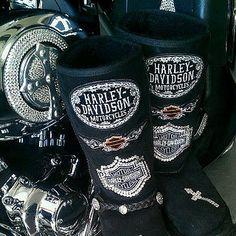 Black UGG style boots into Harley Davidson
