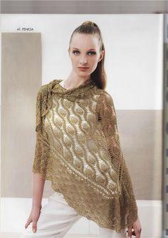 Crochet pineapple shawl with chart.