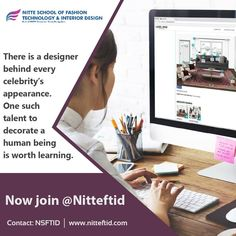 The top fashion designing institute, NITTE School of Fashion & Interior Designing Bangalore offers diploma in fashion designing which help the graduates learn skills and techniques related to fashion designing. Diploma In Fashion Designing, Fashion Designing Institute, Interior Design Colleges, Interior Design Courses, Interior Designing, Apparel Design, Cool Style, Fashion Outfits, Learning