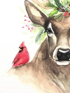 11 x 14 watercolor print on 140 pounds acid-free watercolor paper Christmas Drawing, Christmas Paintings, Christmas Deer, Christmas Animals, Watercolor Animals, Watercolor Paintings, Watercolor Paper, Deer Drawing, Deer Art