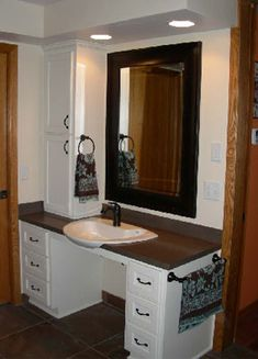Accessible vanity painted BM wrought iron. Walls SW sticks ...