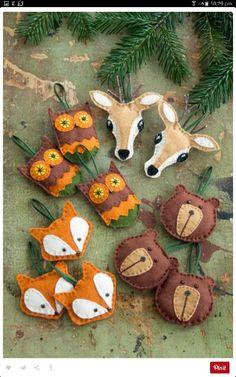 Woodland friends felt ornaments