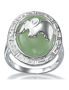 green jade silver elephant ring