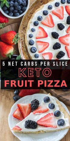 You can enjoy a summer favorite even on Keto! This Keto Fruit Pizza is high in flavor and low in carbs. Perfect for all of your summer cookouts! Only 5.4 net carbs per slice!   #keto #lowcarb