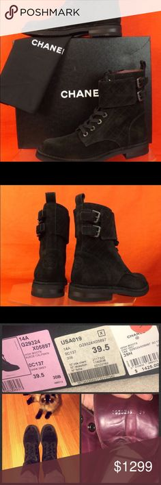 🔥EXTENDED SALE TILL TONIGHT 🔥Chanel combat boots Like Brand New! SOLD OUT everywhere !   I have a pair like this in grey suede and i barely wear this pair. Probably wore it 4 times. NO TRADES but will except reasonable offers :):). Bought them at Barneys in Beverly Hills. Says 39.9 but fits more like an 8.5.   Comes with original show box and shoes bags :) CHANEL Shoes Combat & Moto Boots