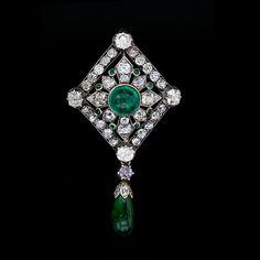 Diamond and Emerald Pendant/Pin http://www.langantiques.com/products/item/50-1-1544