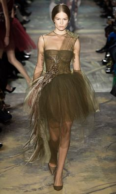 Feathery peacock taupe tulle ballerina gown | Valentino Spring Summer 2014 Haute #Couture #romantic #fashion