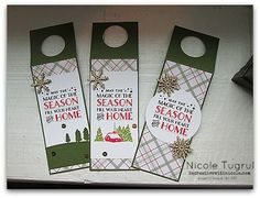 Wine Bottle Tags by Nicole: Cozy Christmas, Merry Moments dsp, Sleigh Ride Edgelits, Snowflake Elements - all from Stampin' Up!
