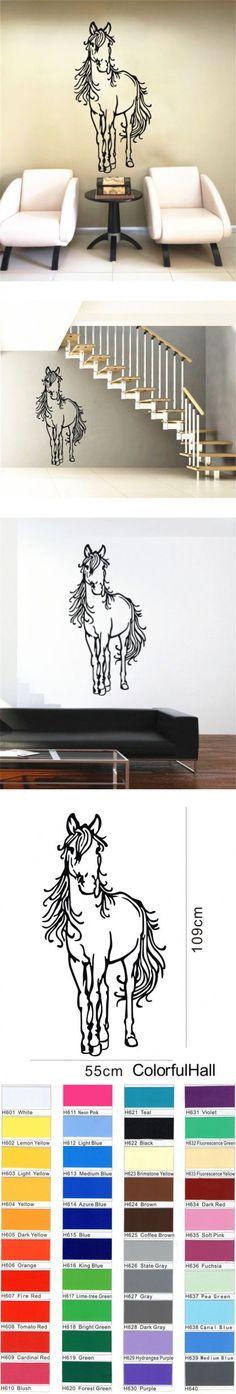 Horse Wall Sticker Art Decal Animal Vinyl Home Living Kids Bedroom Decor Size 109CMX55CM