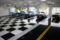 Black And White Checkered Garage Floor With Yellow Road Lines Man Cave Garage, Garage House, Garage Shop, Car Garage, Dream Garage, Garage Lighting, Cool Lighting, Lighting Ideas, Home Design