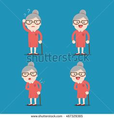 Old lady. Grandma in 4 Different Poses. Vector isolated illustration. Cartoon character.
