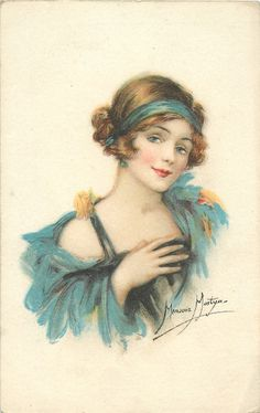 head & shoulders study of girl in blue, blue hair-band, right hand on chest