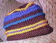 """Striped """"Julia Roberts Stepmom"""" Hat Knitting Pattern"""