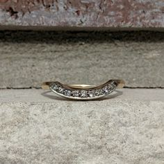 Vintage Curved Contoured Wedding Band Ring | Antique Curved Ring | Ring Enhancer Guard in 14k Yellow Gold Antique Rings, Antique Jewelry, Vintage Jewelry, Antique Wedding Bands, Wedding Ring Bands, Ring Enhancer, Diamond Settings, Ring Ring, Band Rings