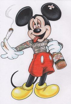 Mickey Mouse smoking joint and drinking alcohol.