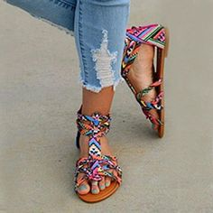 c09c61b46f22 Floral Flat Ankle Strap Peep Toe Casual Gladiator Sandals