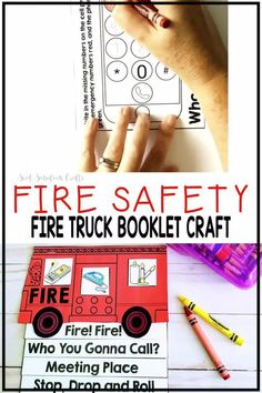 Fire truck craft booklet as a simple way to introduce fire safety and prevention with kindergarten and first grade students. 5 pages including the cover make it perfect for teaching throughout fire week - one page per day. Students make a fire truck flip book and complete an easy activity on each page. REach page in the book also comes with suggestions for teaching and sharing the activities with parents at home. Fire Safety Crafts, Fire Safety For Kids, Fire Safety Tips, Fire Safety Week, Teaching Activities, Teaching Ideas, Fire Truck Craft, Halloween Bulletin Boards, Truck Crafts