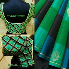 Lovely greens n blues #Vedha_Varna #Saree and Saree Choli Blouse. Indian Fashion via @topupyourtrip